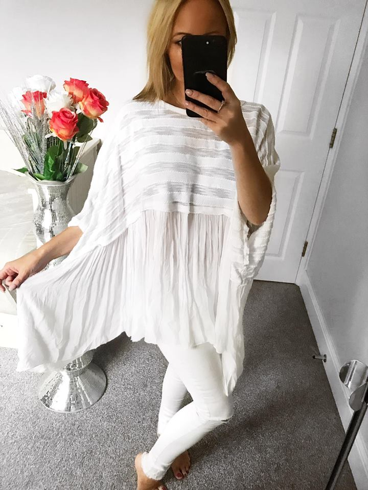 Vienna Textured Linen Batwing Top - White