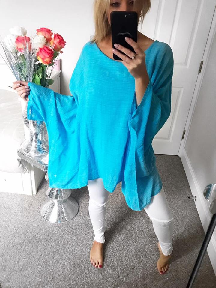 Rio Linen Oversized Batwing Top - Aqua Blue - Free size up to size 20