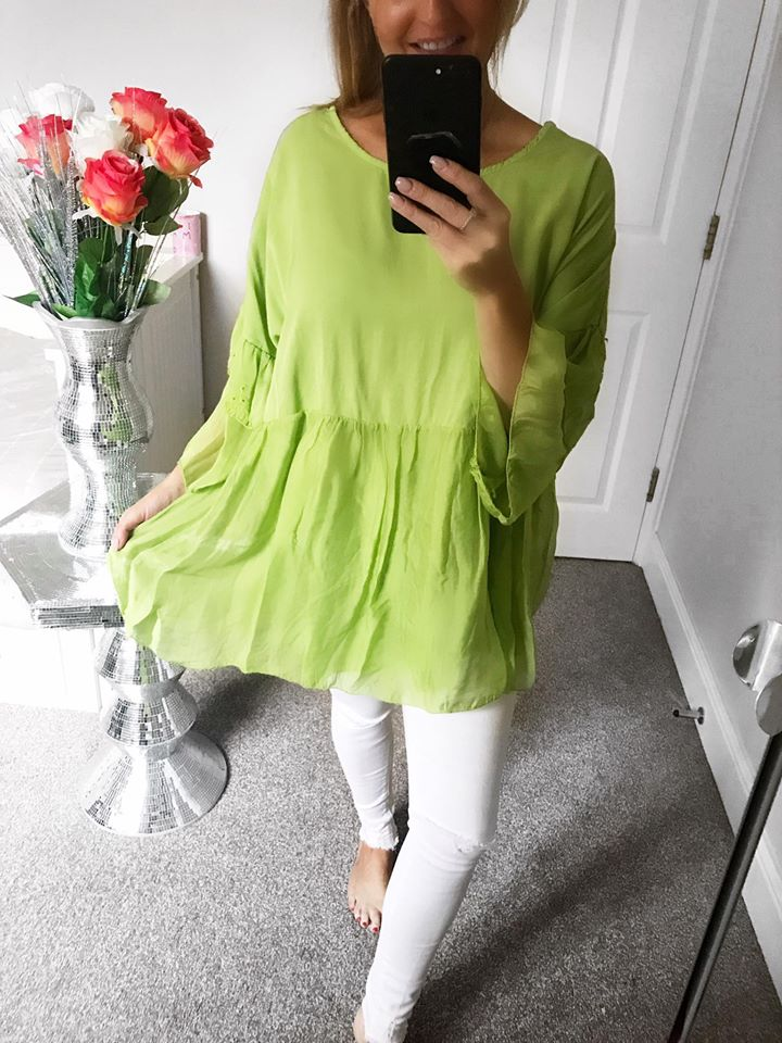 Lime Silk Over Size Blouse - ONE SIZE 8-18