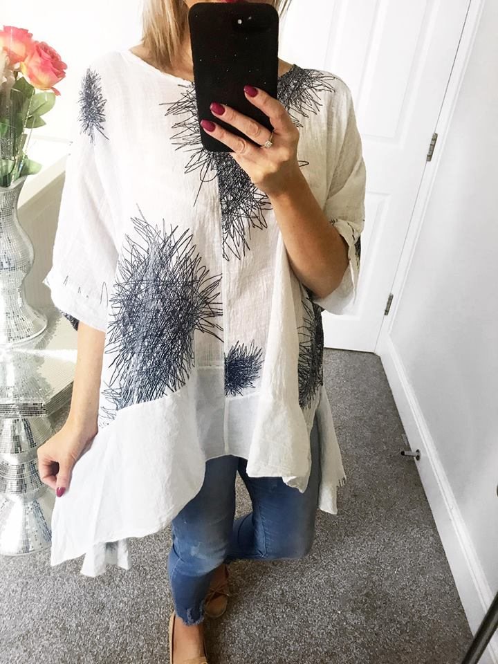 Oversized Cotton Batwing Top - Free Size fits up to size 18