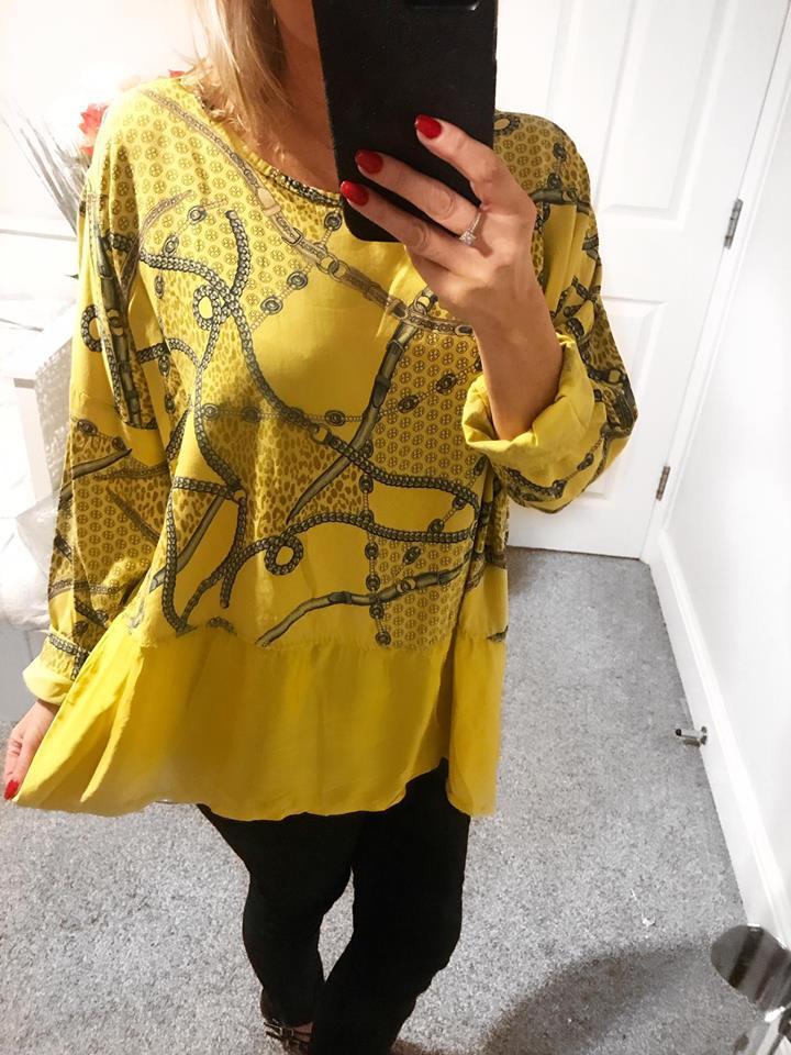 Cassie Chain Cotton Top with Satin Trim - Mustard
