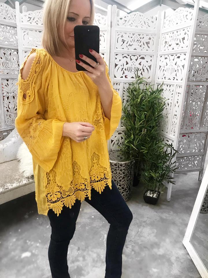 Colette Loose Fit Cold Shoulder -Mustard