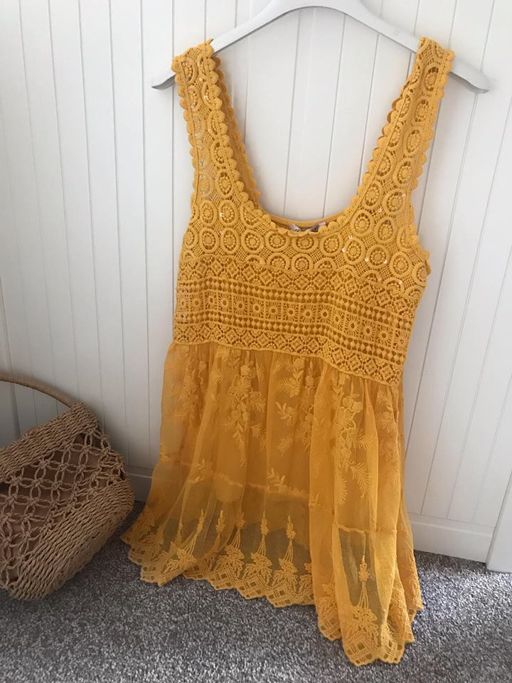 Mustard - Lace & Crochet Vest Top ONE Size up to size 14/16