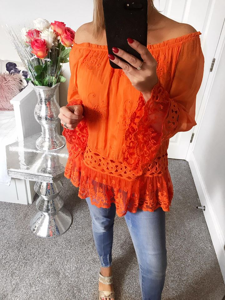 Blaze Orange Silk Belle Sleeve Bardot Blouse
