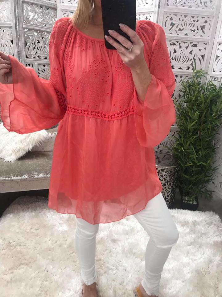 Carrie Silk Tunic - Coral