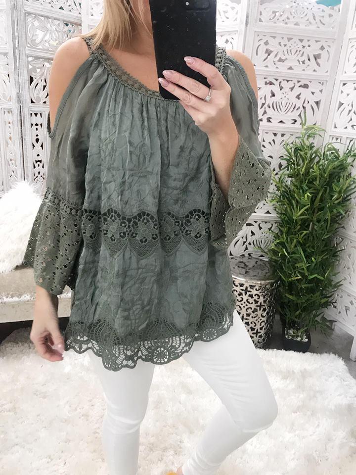 Bella Silk & Crochet Cold Shoulder Top - Khaki
