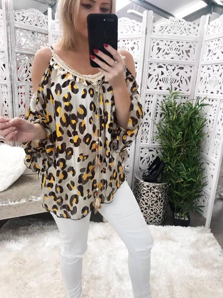 Brown Leopard Boho Cold shoulder Blouse