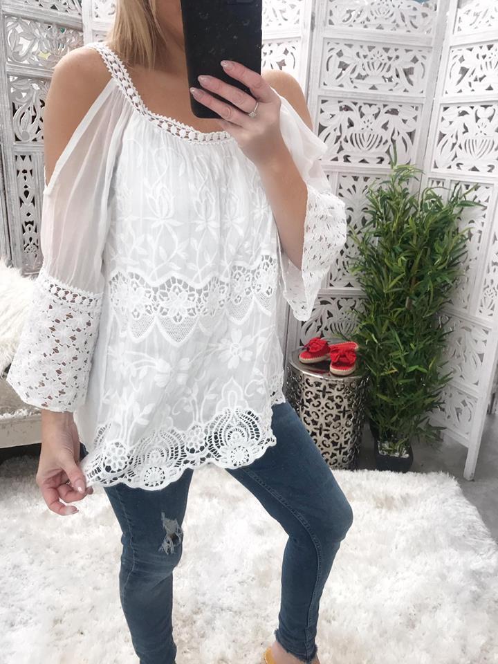 Bella Silk & Crochet Cold Shoulder Top - White
