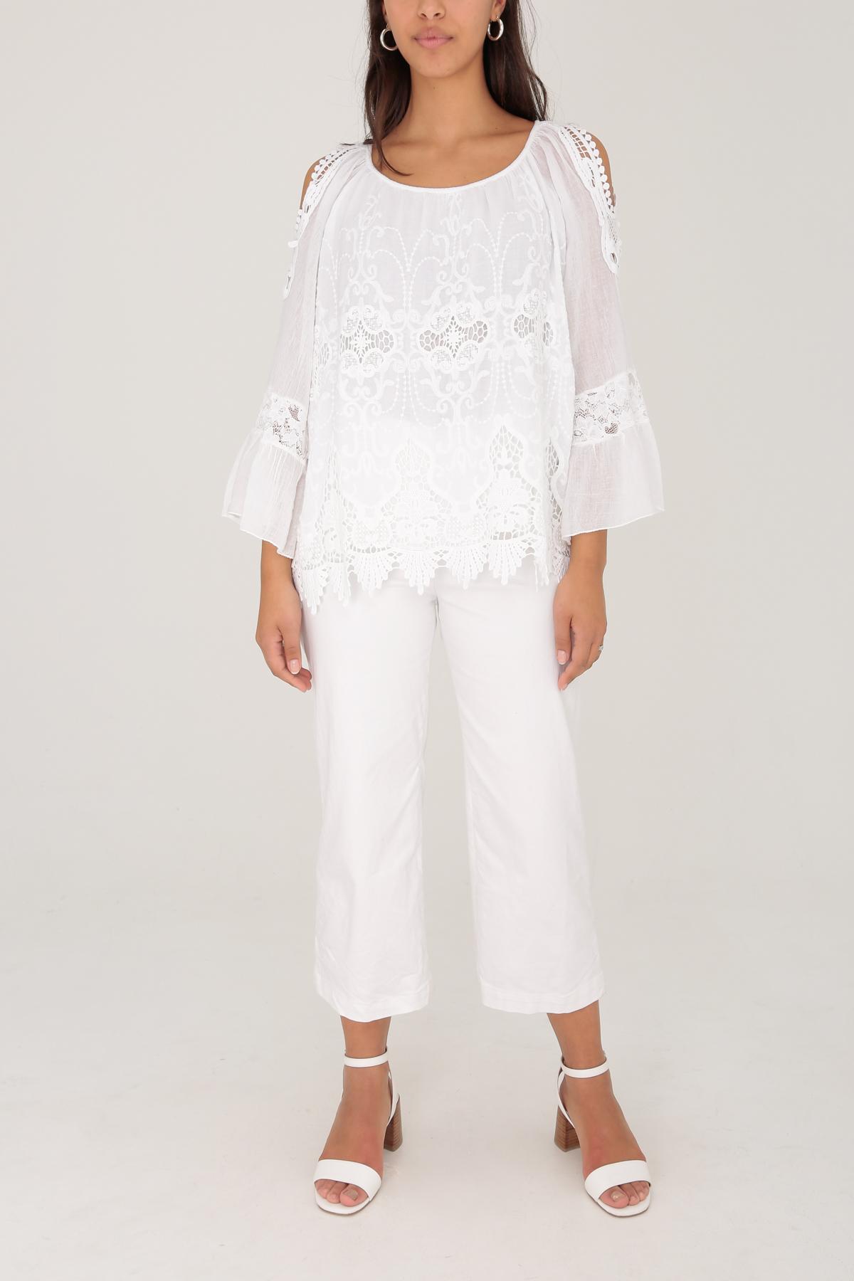Colette Cotton Cold Shoulder Blouse - White, One Size 8-14