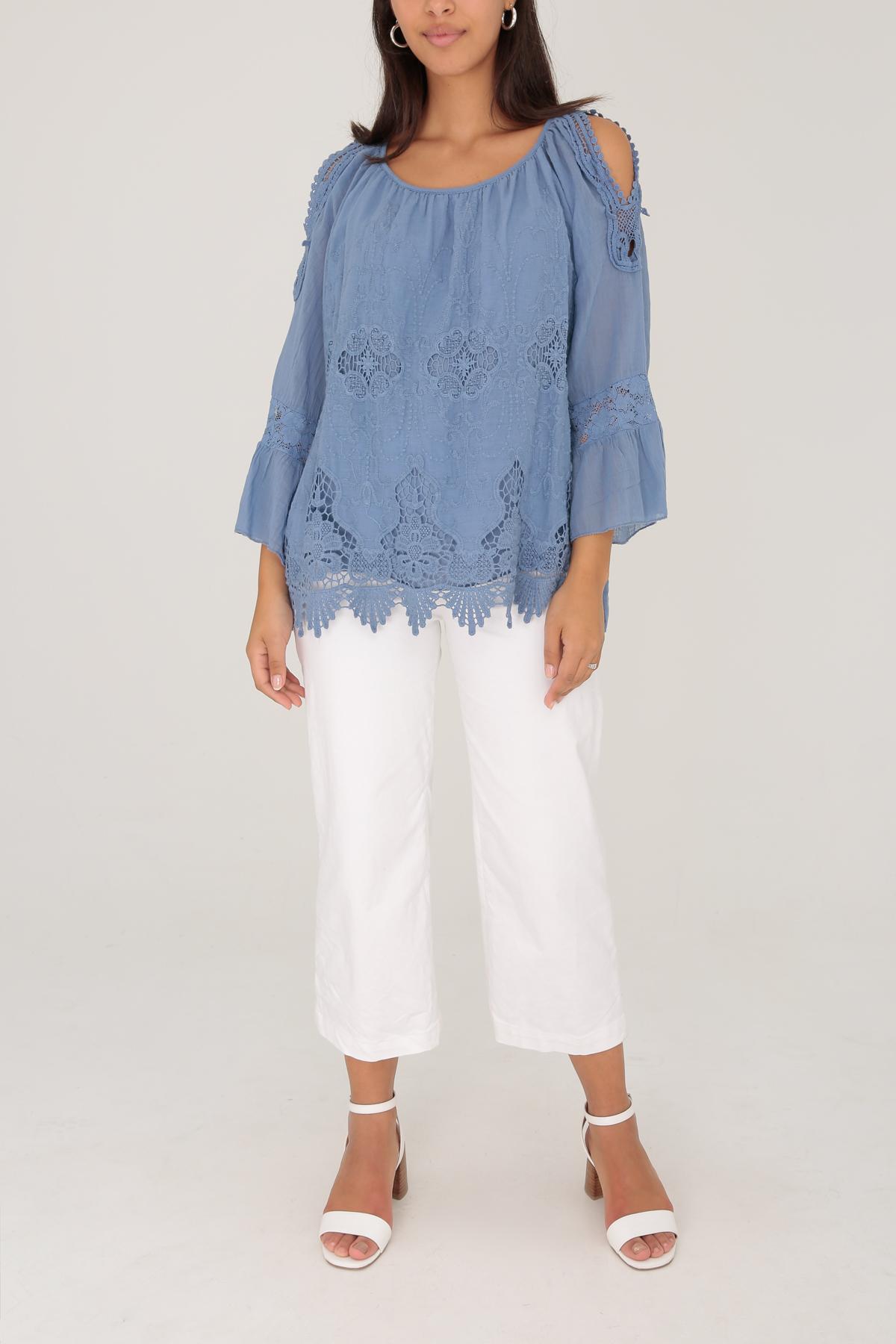 Colette Cotton Cold Shoulder Blouse  - Denin Blue, One Size 8-14