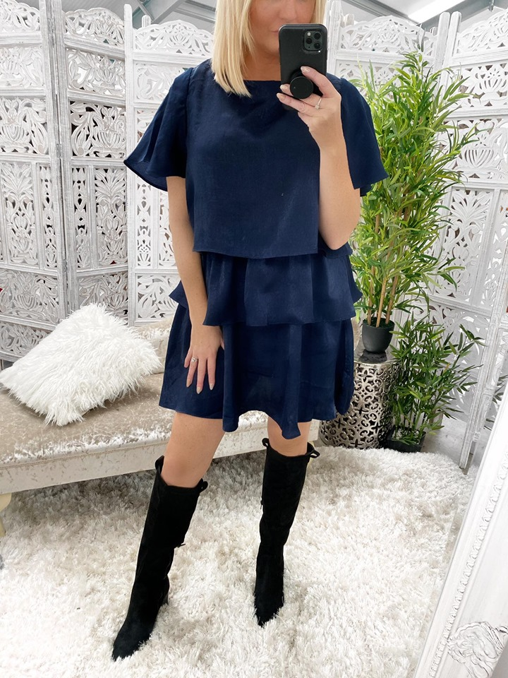 Navy Metallic Layered Ruffle Dress
