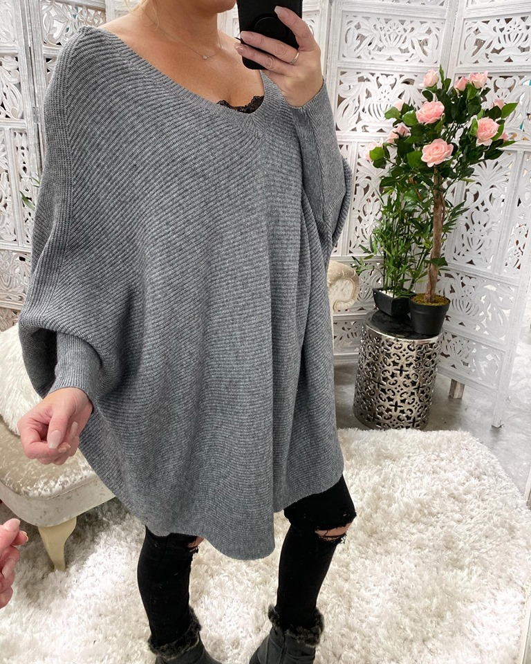 Grey Oversized Ribbed batwing Jumper