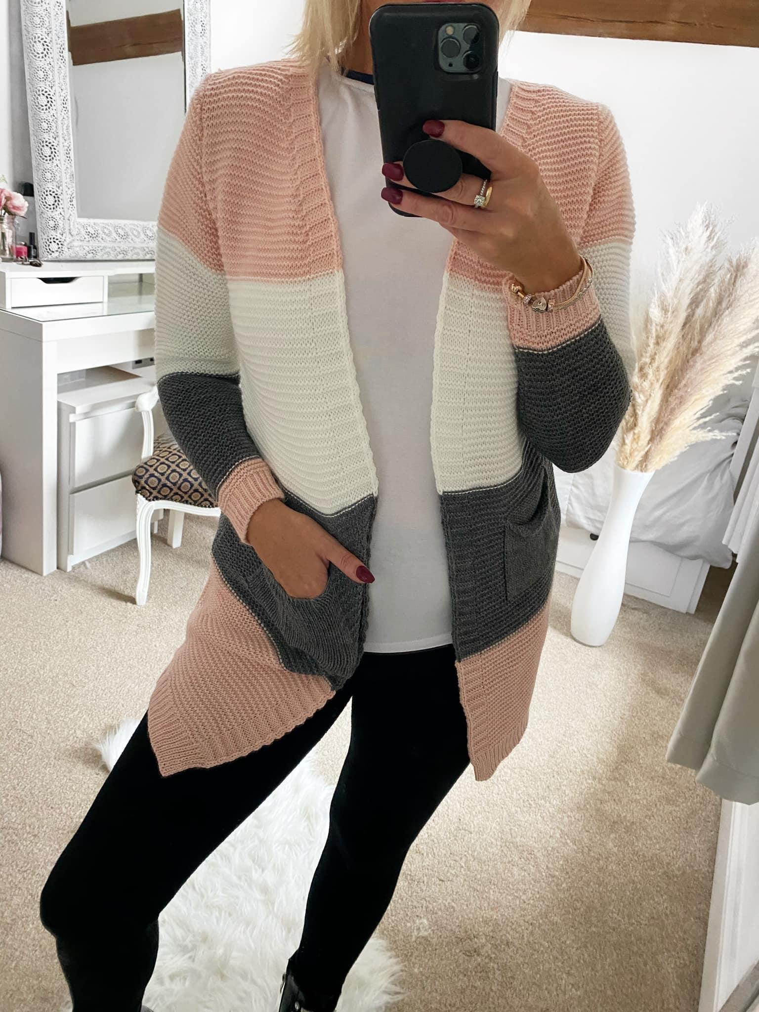 Pink, Cream. Grey Cardie  -SPECIAL OFFER