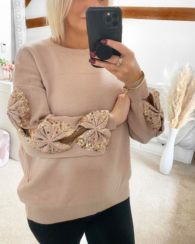 Sequin Bow Jumper - Taupe