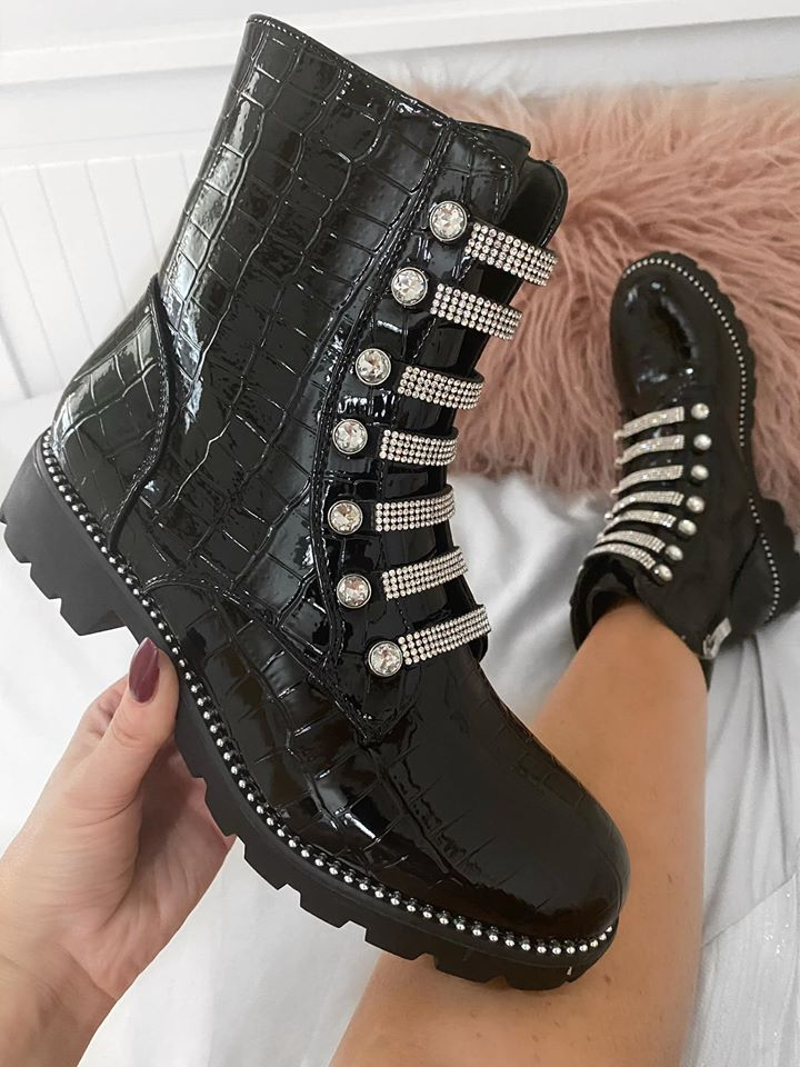 Black Croc Diamante Boots