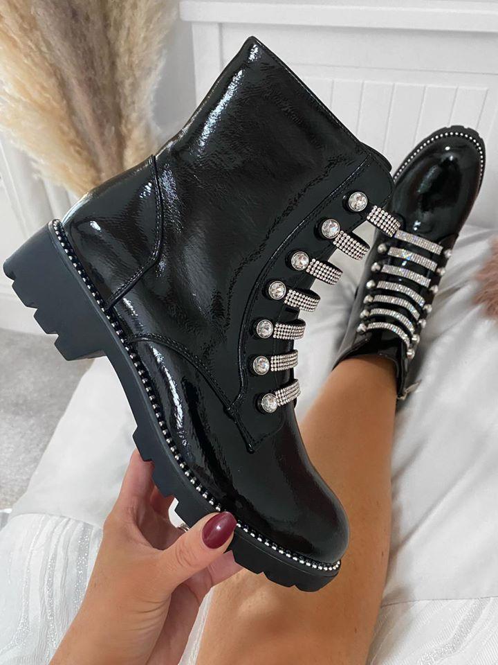 Black Patent  Diamante Boots
