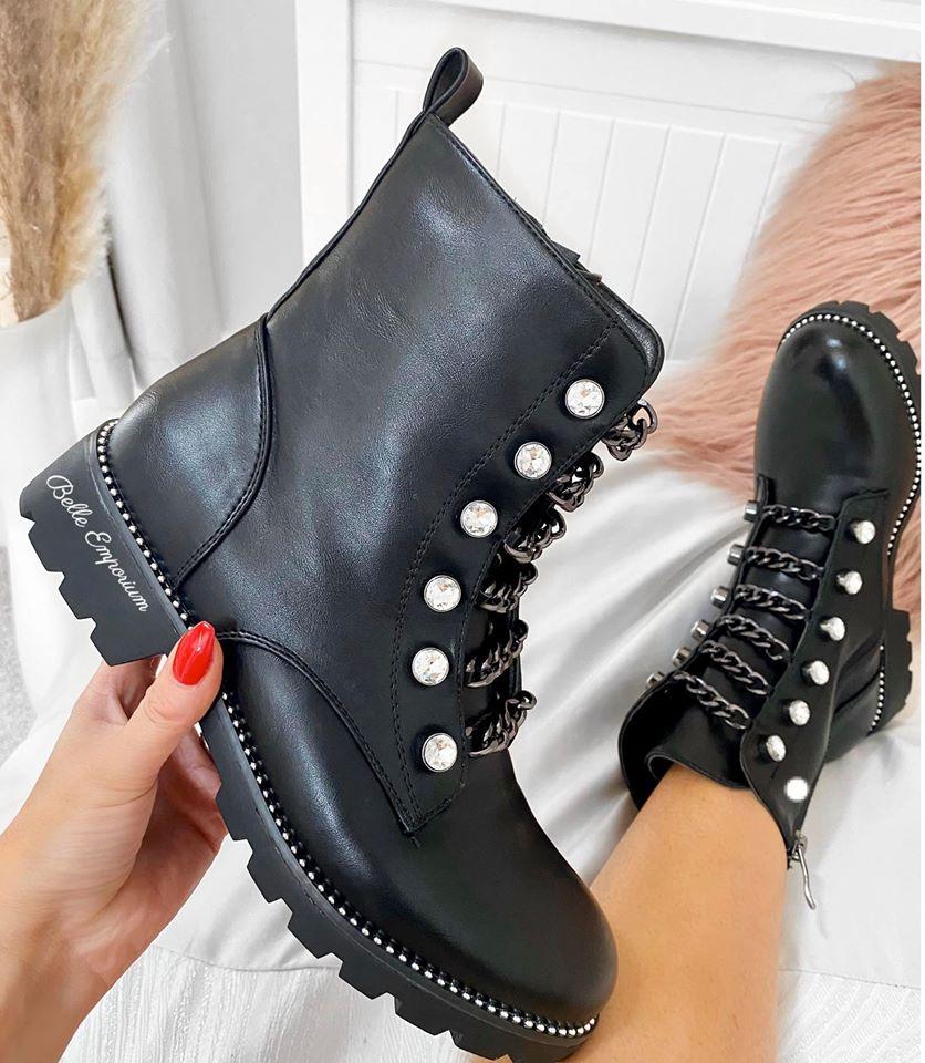Matt Black Diamante Chain Boots