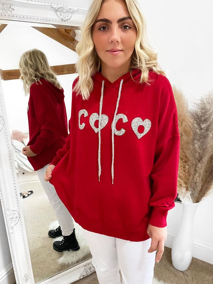 Red Coco Embellished Hoodie One Size 8-18