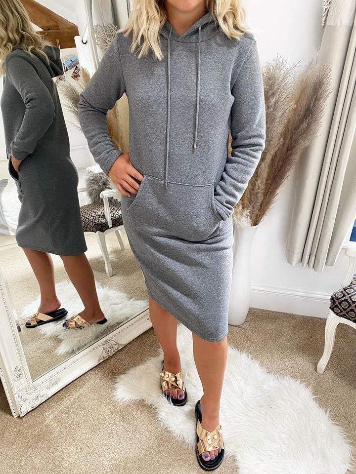 Grey Sweater Hooded Midi Dress