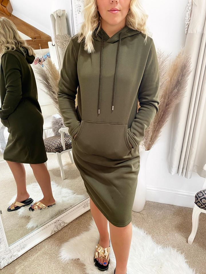 Khaki  Sweater Hooded Midi Dress