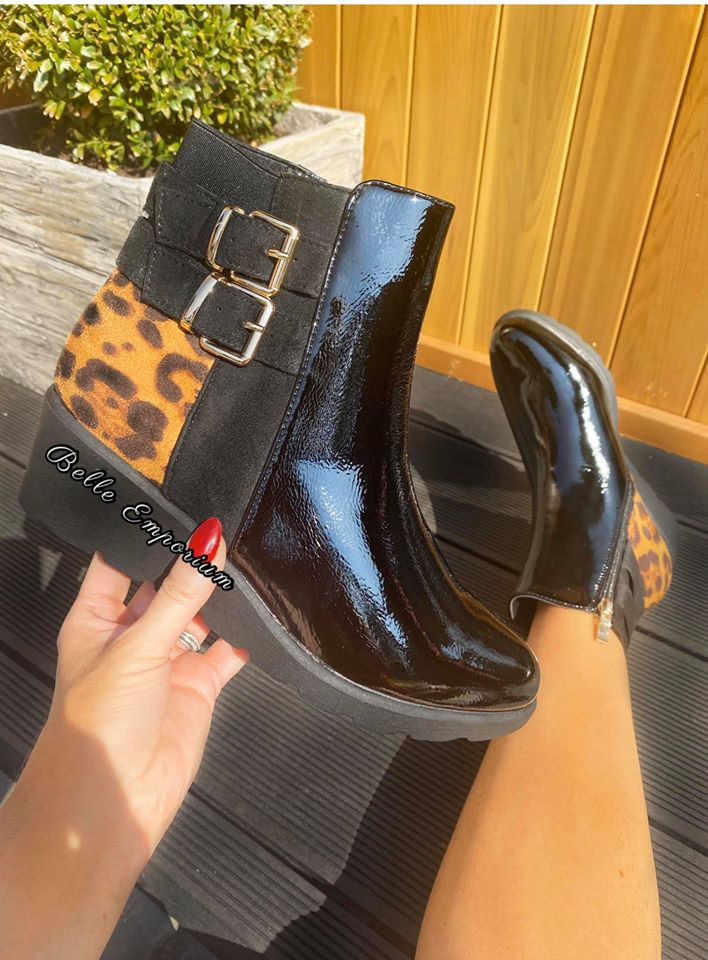 Leopard Back Wedged Boots