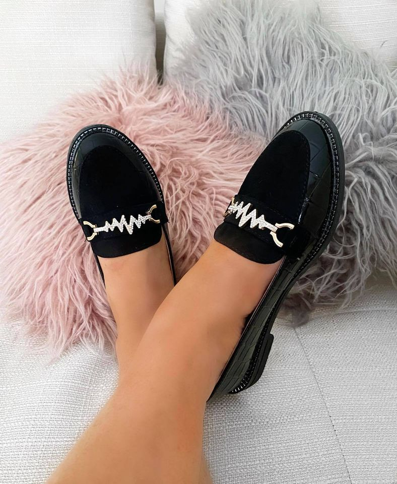 Black Croc Loafers