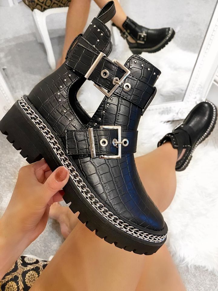Black Croc Buckle Shoe Boots