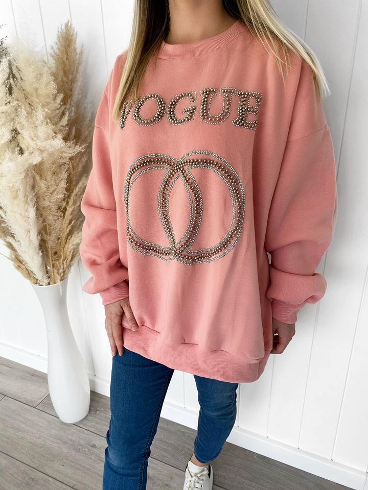 Candy Pink Vogue Diamante Studded Sweatshirt