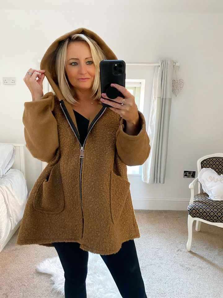 Camel Hooded Coatigan