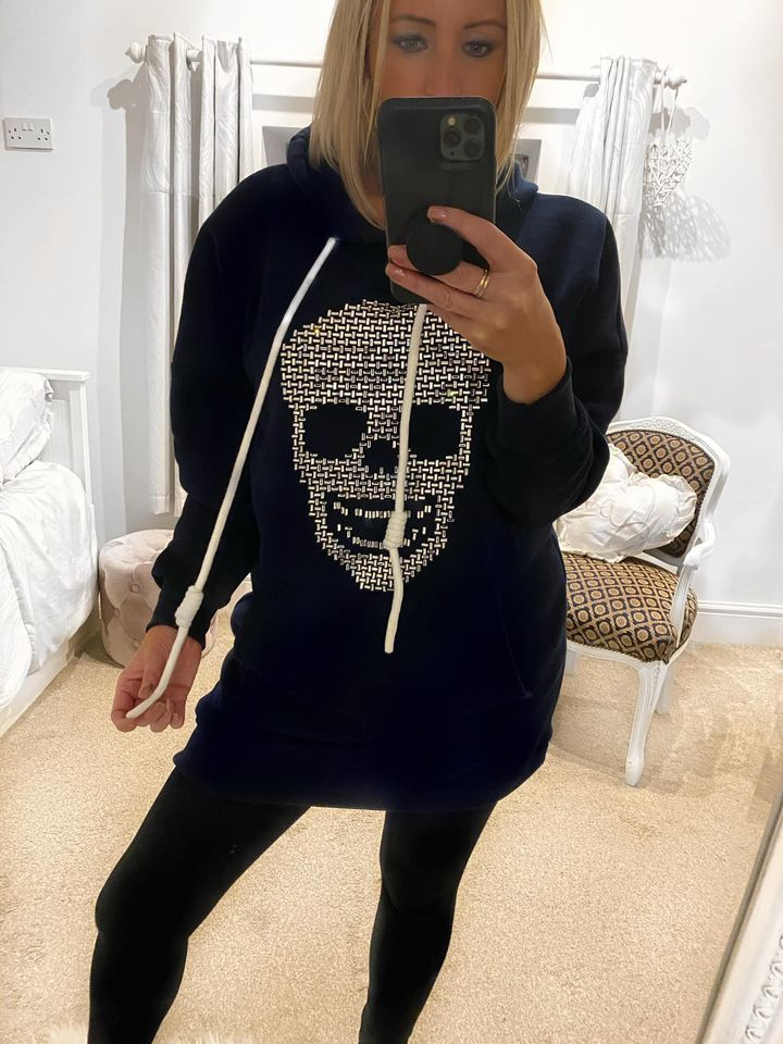 Navy Diamante Skull Hooded Jumper Dress