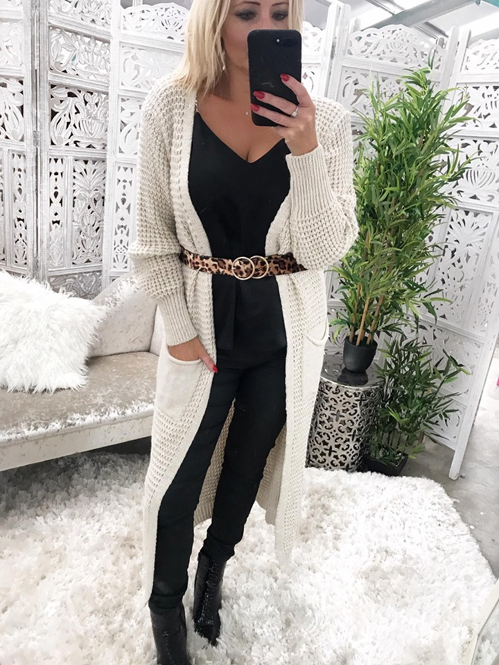 Long Line Cable Knit Cardigan - Oatmeal