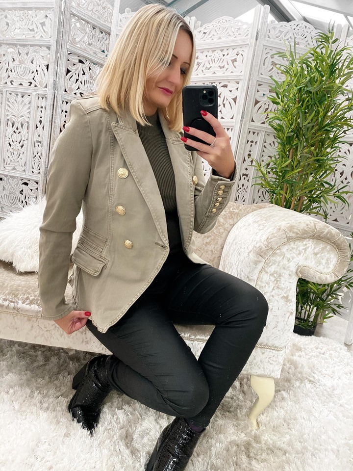 TAUPE Denim Tailored Military Blazer - OUT OF STOCK