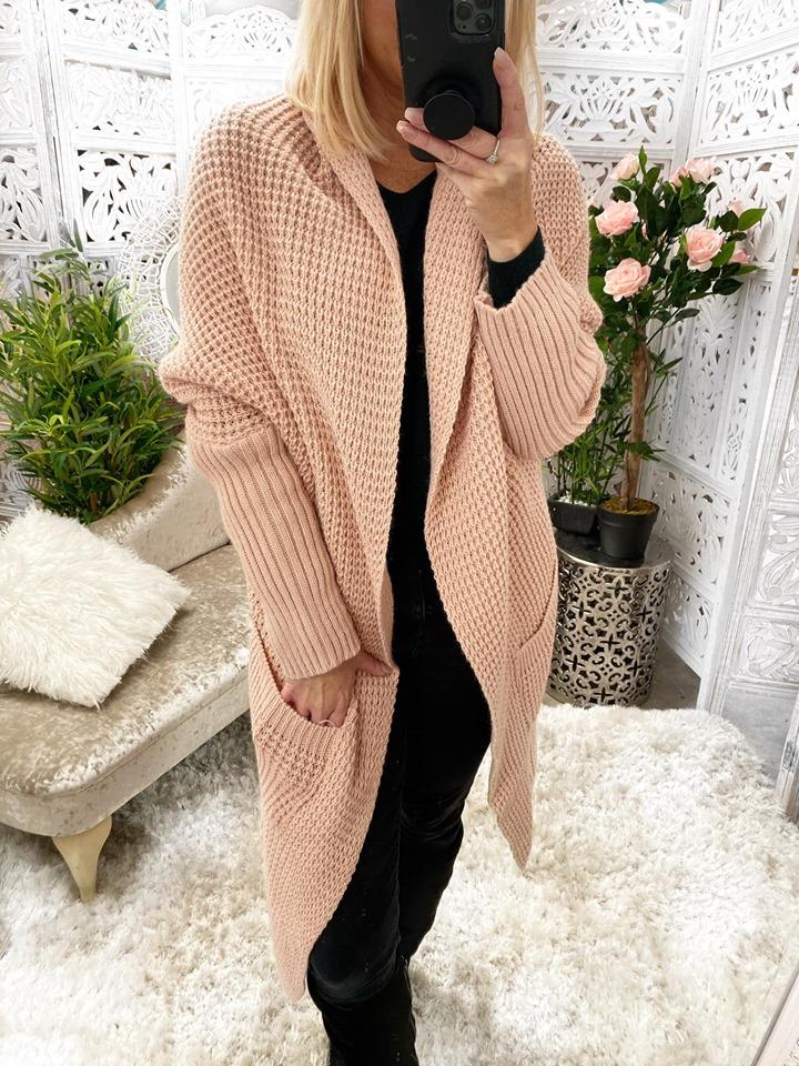 Dusky Pink Oversized Cardigan - One Size fits up to UK 18
