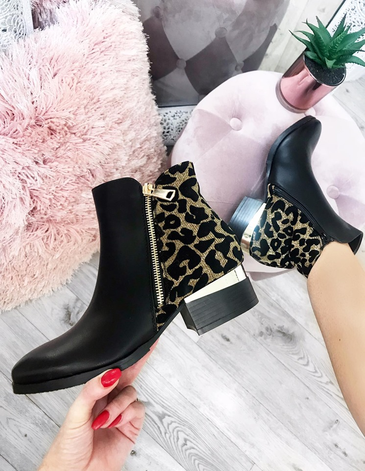 Gold Leopard back Chelsea Boots