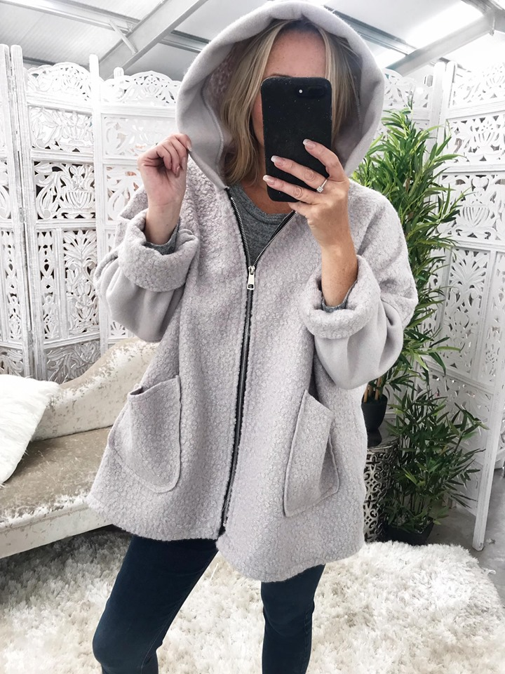 Light Grey Teddy Bear Hoodie
