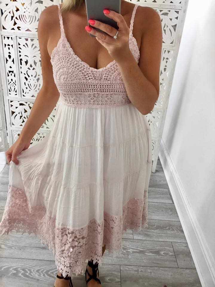 Sammie Pink Crochet Sequin Trim Dress - ONE SIZE 8-14