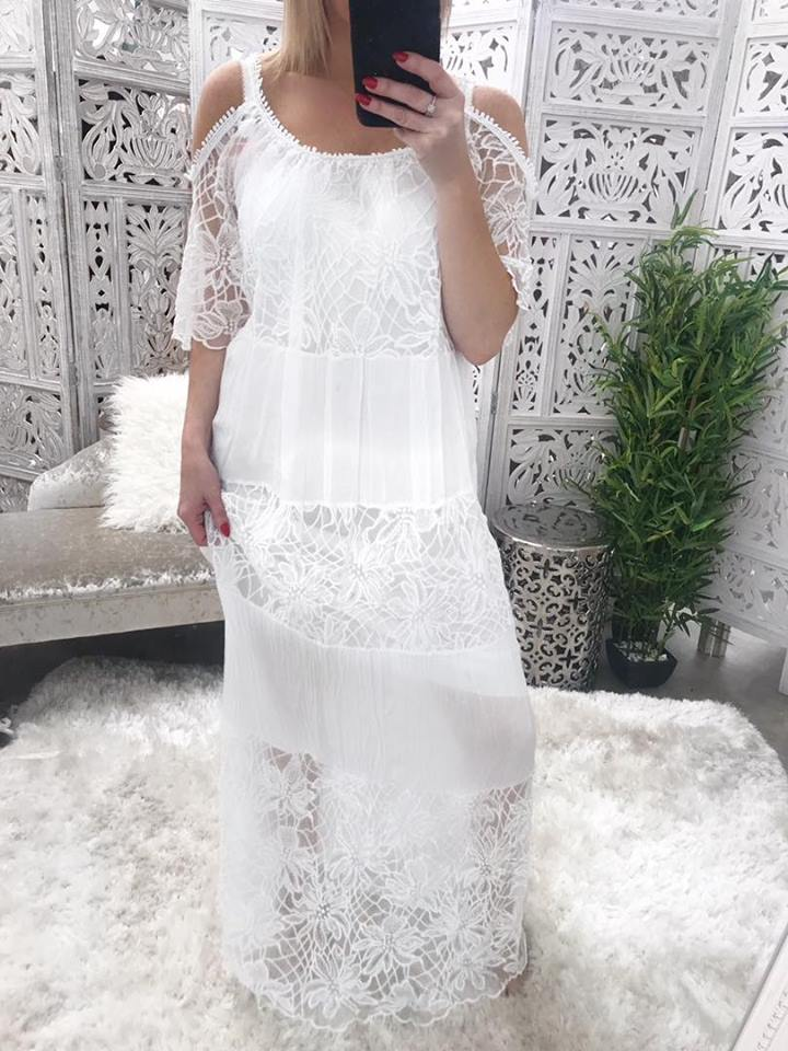 Isabella Long White Silk & Crochet Maxi Dress