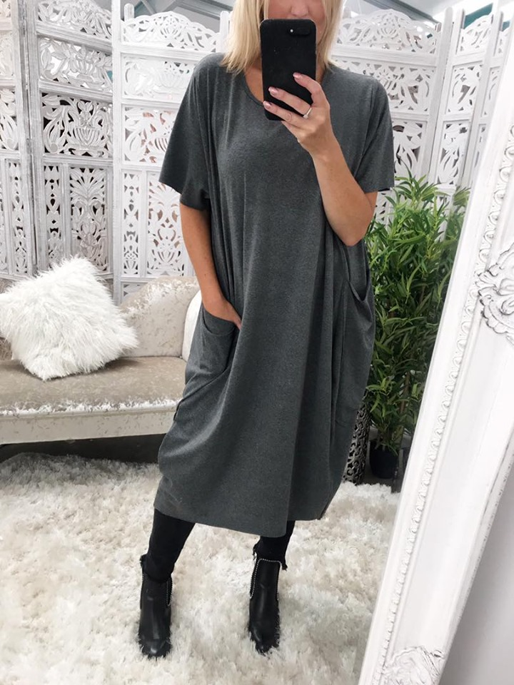Oversized Pocket Dress - Dark Grey