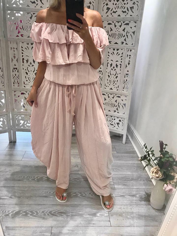 Blush Pink Hareem Jumpsuit - ONE SIZE FITS UP To SIZE 18