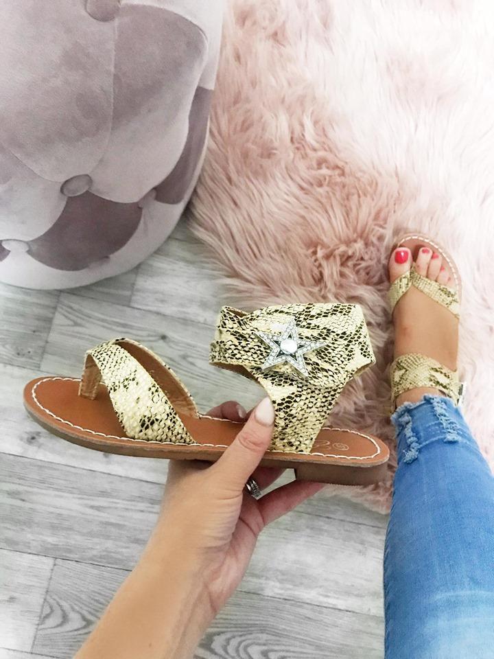 Yellow Snakeskin Toe Thongs with Star Diamanté - Leather Sole