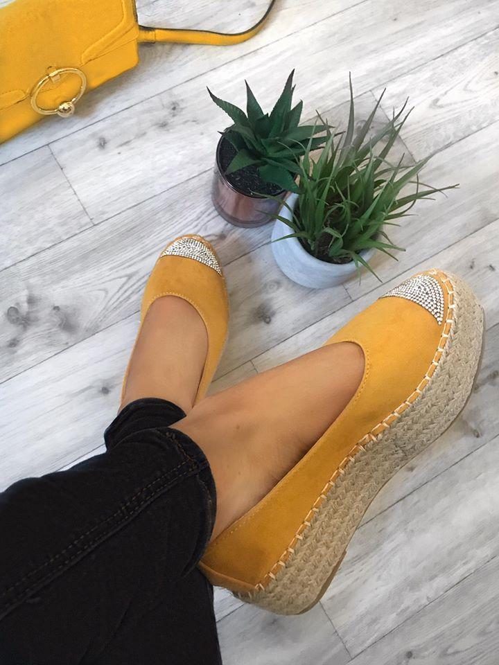 Bailey Flatform Suedette  Espadrilles - Mustard