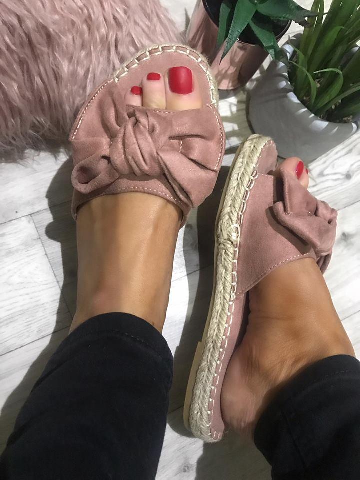 Mimmie Dusky Pink Bow Suedette Espadrille Sliders