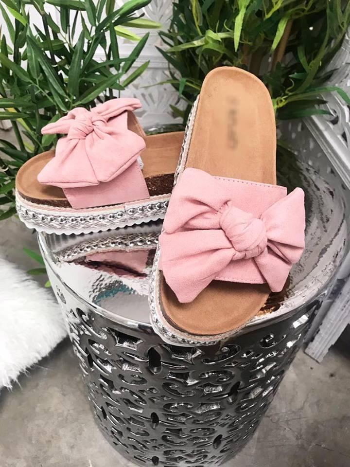 Raffia Suedette Bow Sandal - Dusky Pink