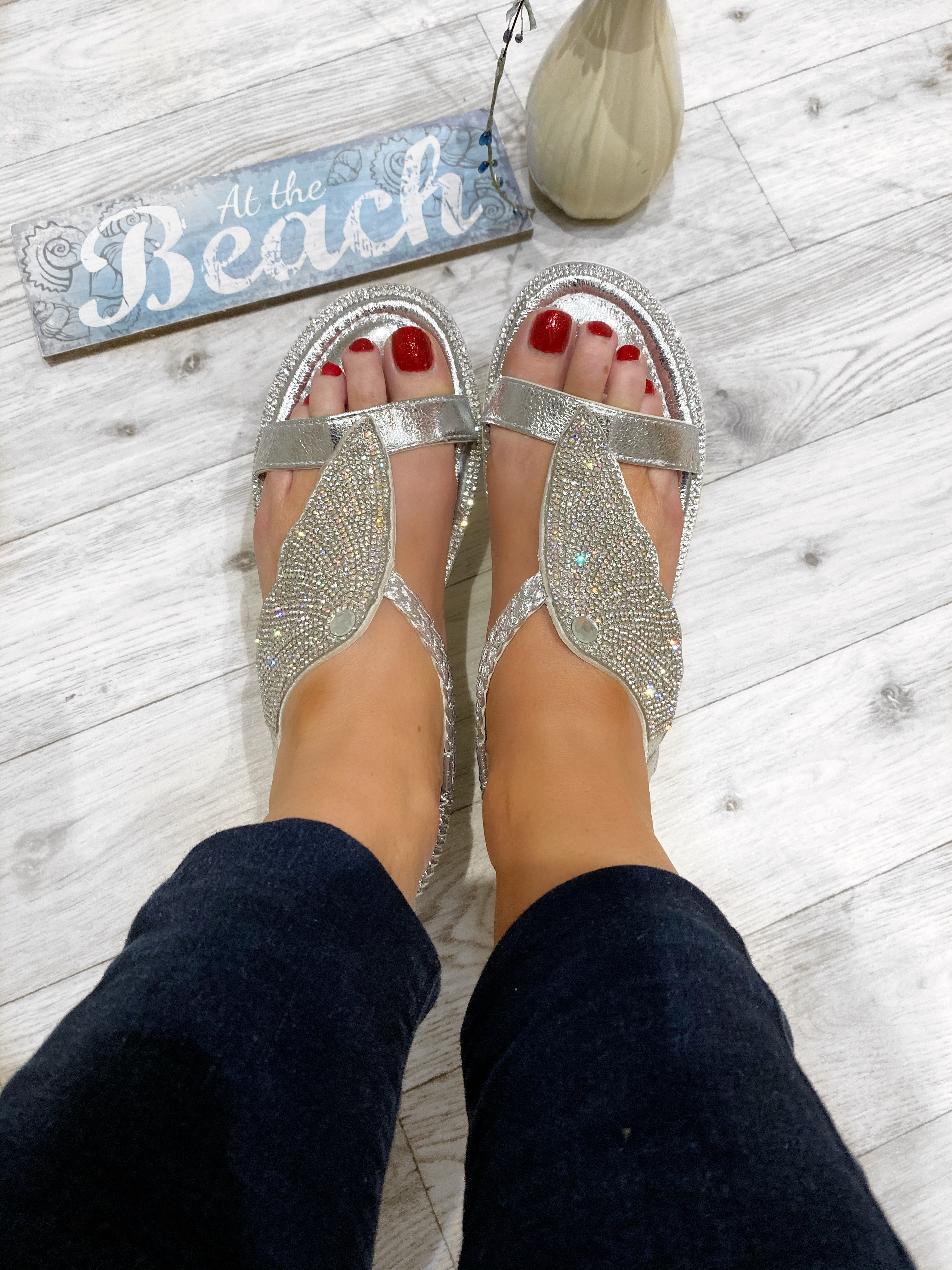 Angel wings comfort sole Sandals - Silver