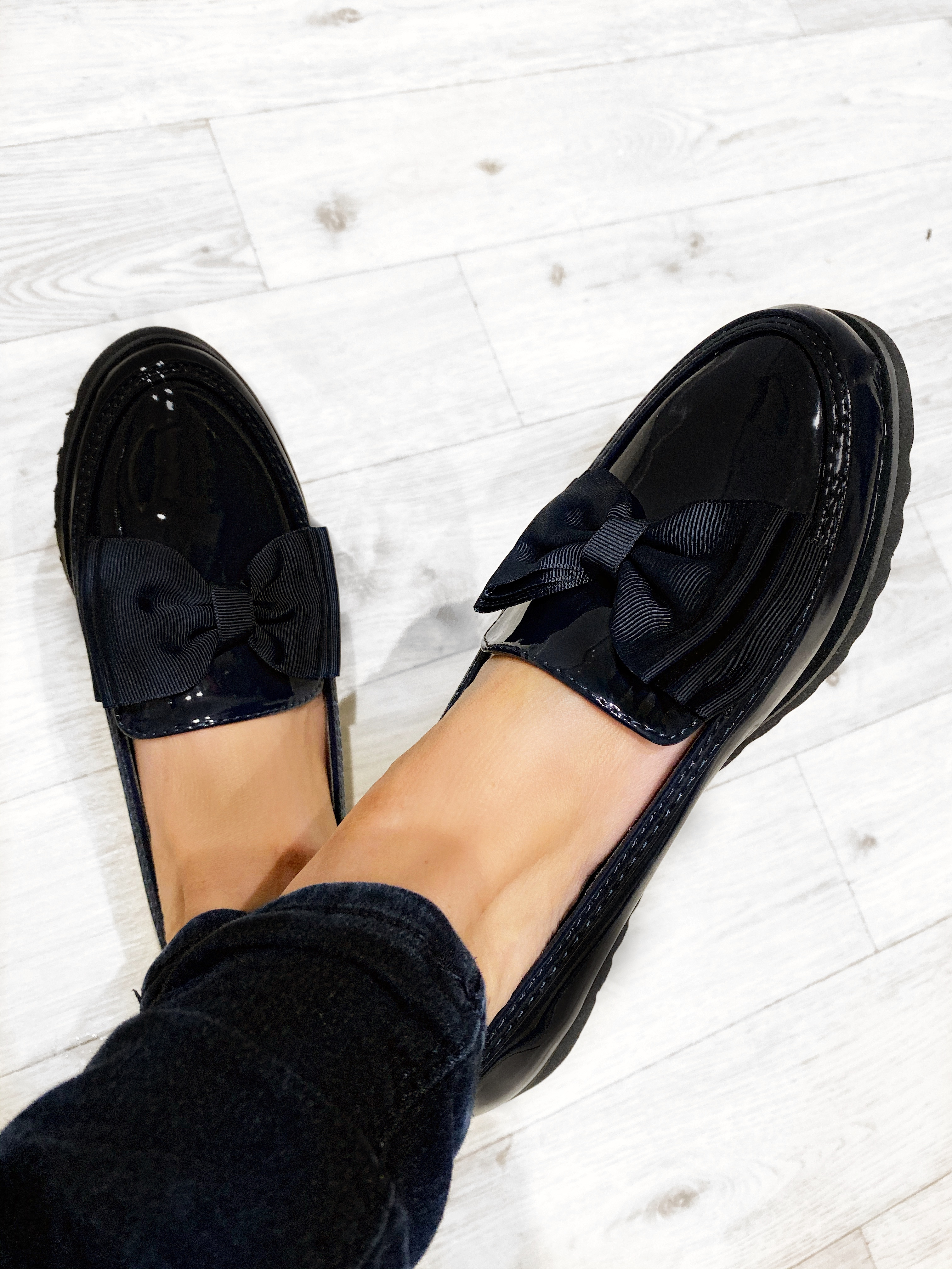 Patent Black Bow Comfort Loafers