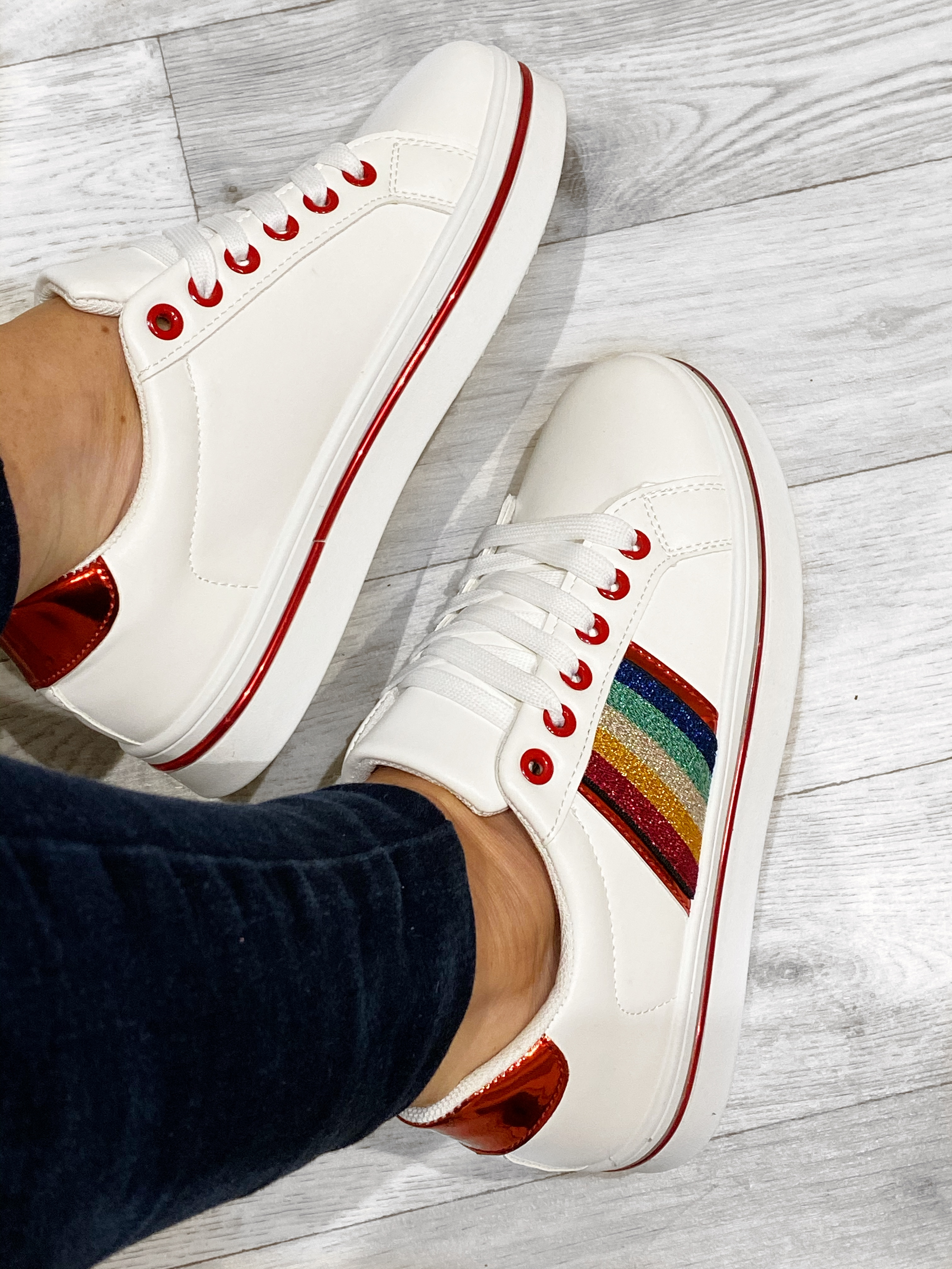 Rainbow Trainers -RED TRIM