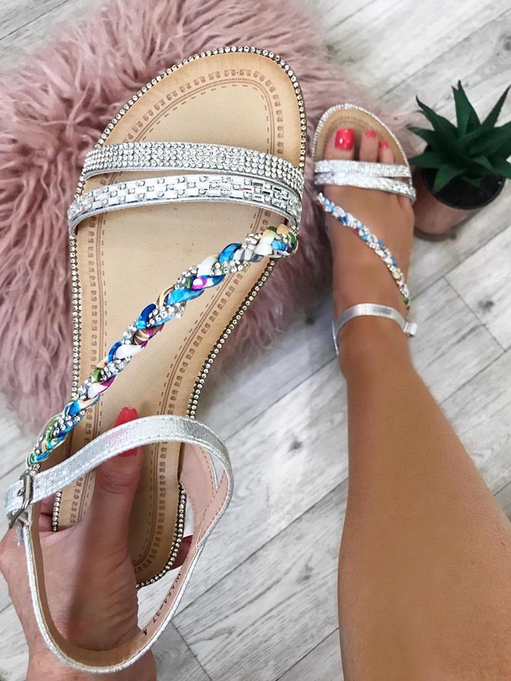 Laura Silver Platt Strap Diamante Flat Sandals