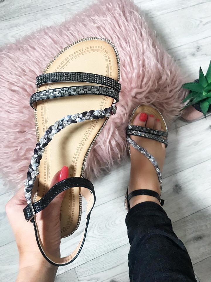 Laura Black Platt Strap Diamante Flat Sandals