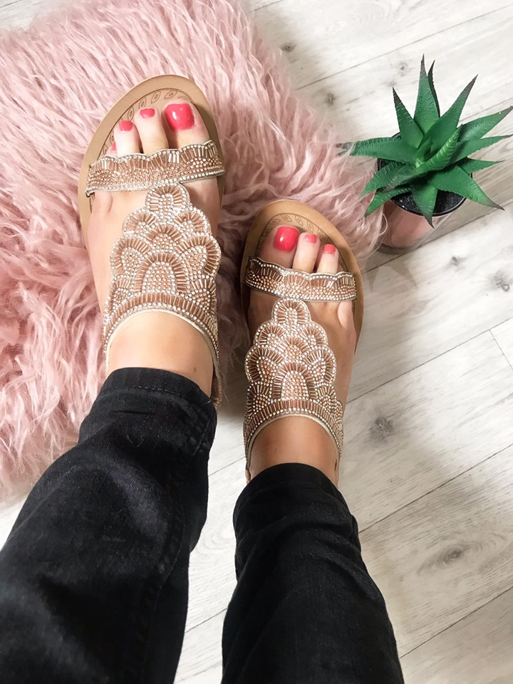 Rose Gold Shell Chunky Sandals