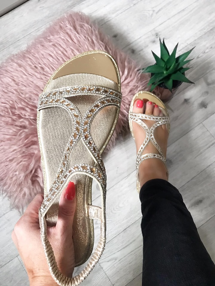 Gold Mirrored Diamante Flat Sandals